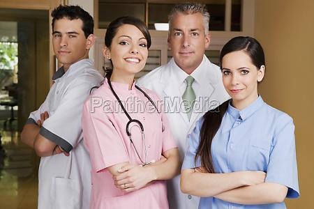 portrait of four doctors