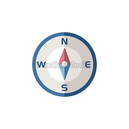 compass north direction flat icon isolated