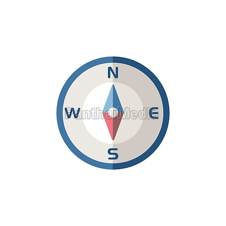 compass south direction flat icon isolated