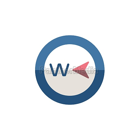 west, direction., flat, icon., isolated, weather - 29337812