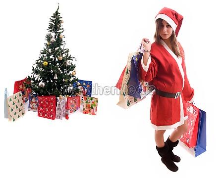 young santa girl close to a