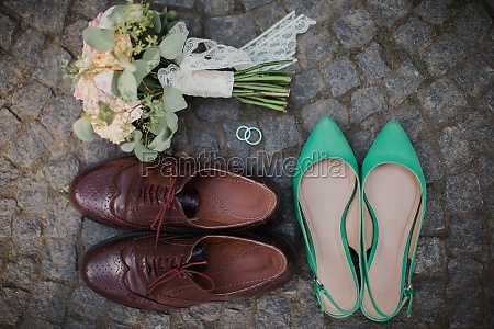 wedding bouquet shoes rings on the
