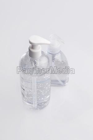 closeup of liquid soap dispensers