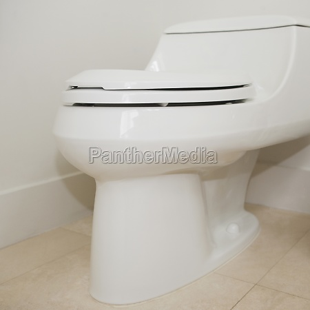 closeup of a toilet bowl in