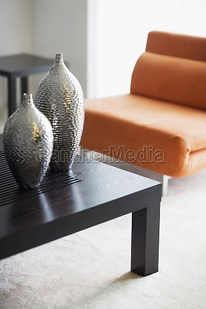 vases on a table