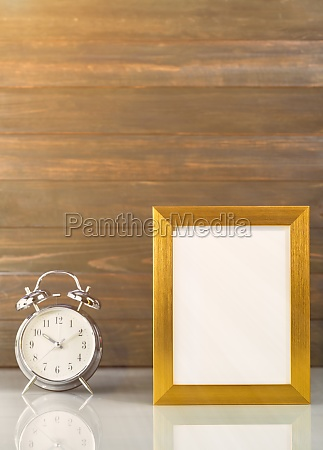 picture mock up with golden frame