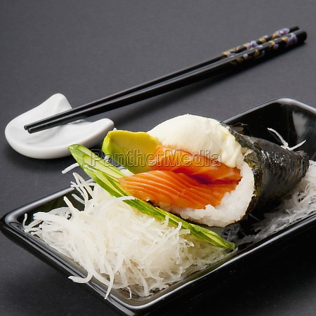 closeup of temaki sushi