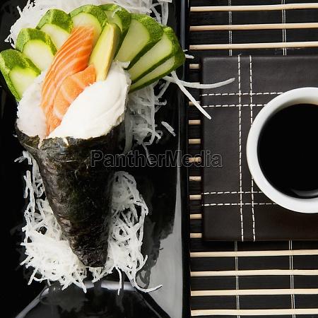 high angle view of temaki sushi