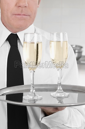 waiter holding a tray of champagne