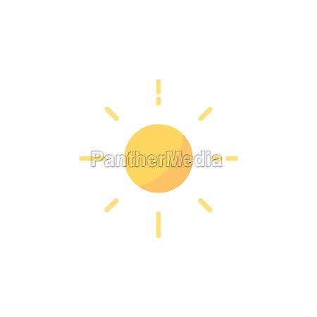 shining sun flat icon isolated weather