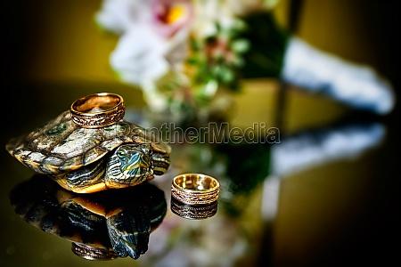 two wedding wedding rings lie next