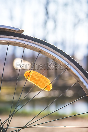 city bike tyres outside summer day