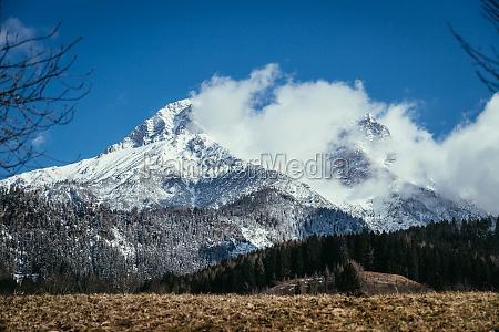 snowy mountains in winter landscape alps