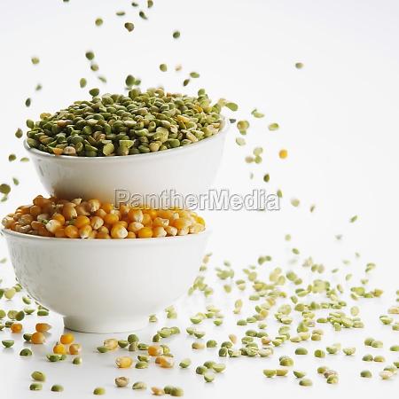 closeup of bowls of green lentils