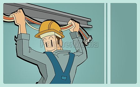 rear view of an electrician holding