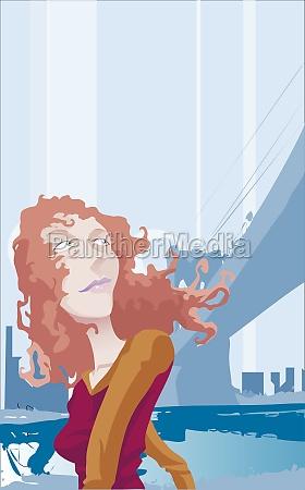 woman looking over her shoulders