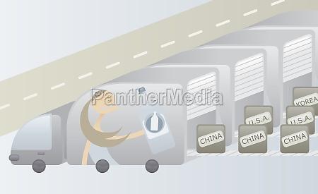 row of trucks offloading goods from