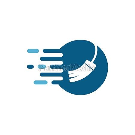 broom illustration vector template symbol of