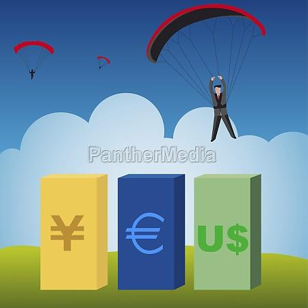 three businessmen parachuting