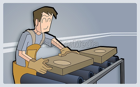 man packing boxes on a conveyor