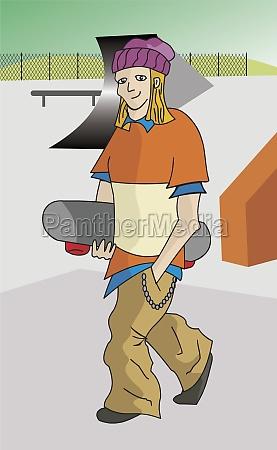 man walking with a skateboard
