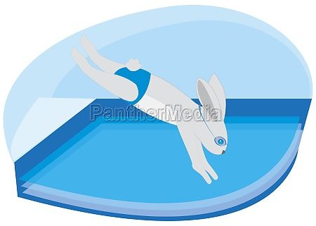 rabbit diving into a swimming pool