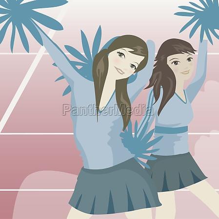 cheerleaders dancing with pom poms