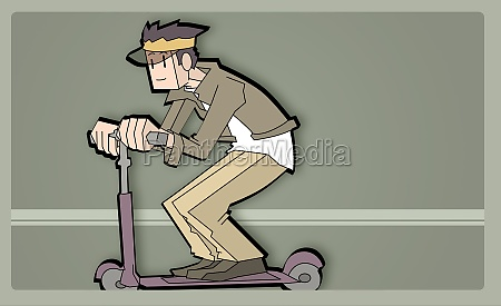 boy riding on a push scooter