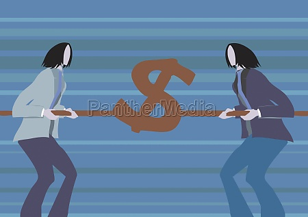 two businesswomen holding a dollar sign