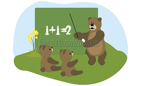 adult bear teaching young bears