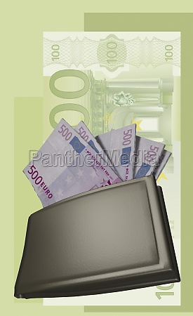 wallet filled with euro notes