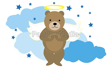 bear imitating an angel