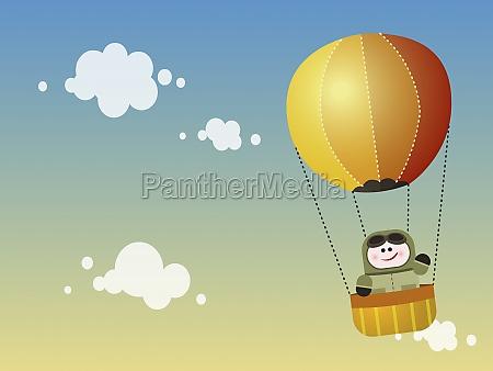 person in a hot air balloon