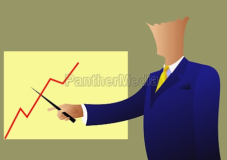 businessman pointing on a bar graph