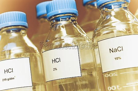 closeup of plastic bottles filled with