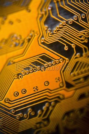 closeup of a computer circuit board