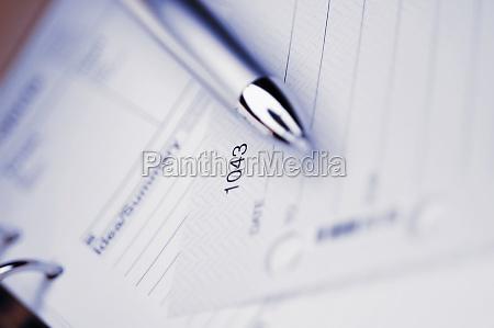 closeup of a pen on a