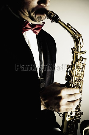 closeup of a musician playing a