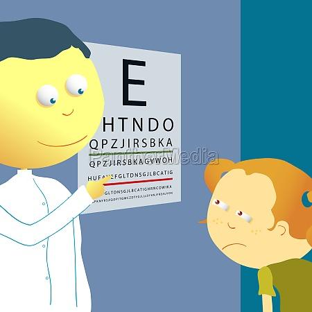 male optician checking a girlZs eye