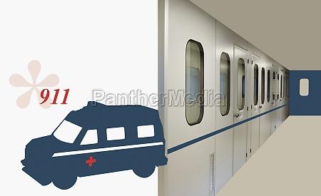 ambulance beside a hospital corridor