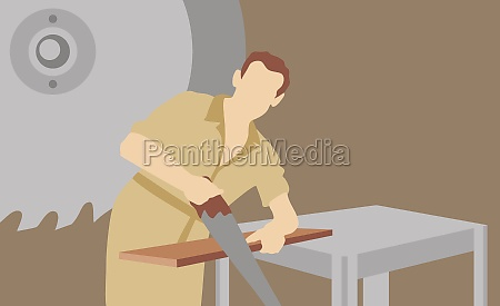 carpenter sawing a wooden plank