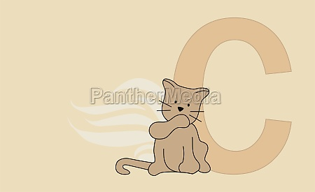 the letter c with a cat