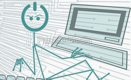 cartoon character working on a computer