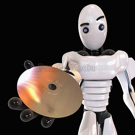 robot showing a cd