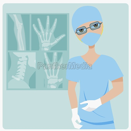 young woman standing near x rays