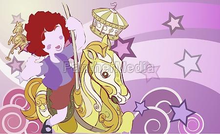 girl on a carousel horse