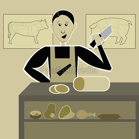 butcher cutting meat in a butcher