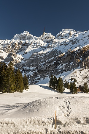 mount saentis in winter schwaegalp canton