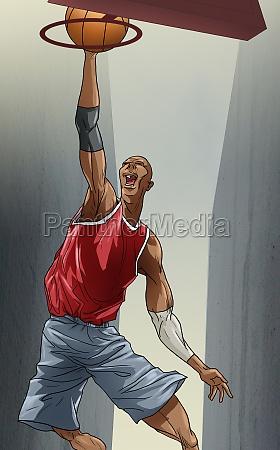 man shooting a basket