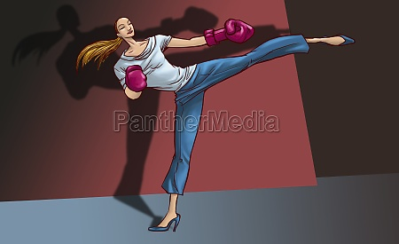 young woman practicing kickboxing